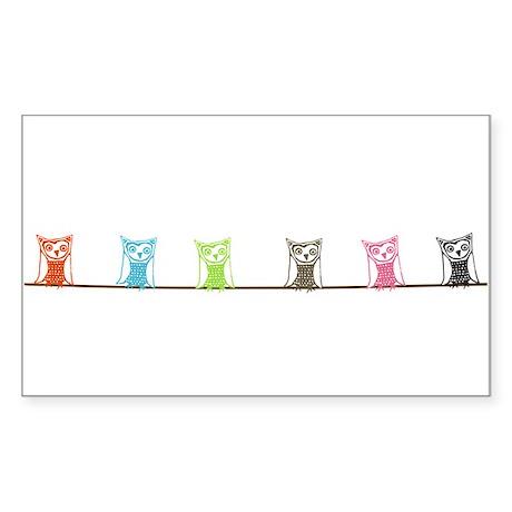 6 owls Sticker (Rectangle)