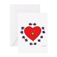 Many Hands Heart Greeting Card