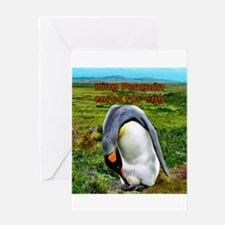 King Penguin with egg- Greeting Card