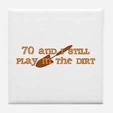70th Birthday Gardening Tile Coaster