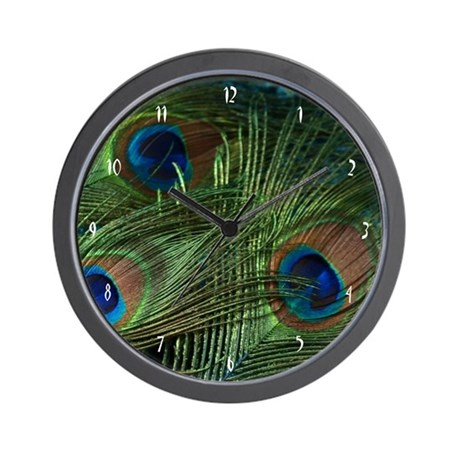 Green Peacock Feather Wall Clock