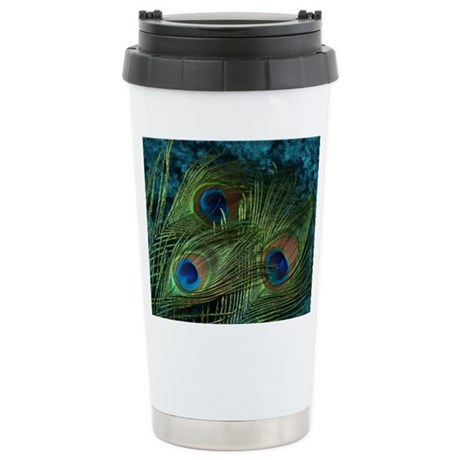 Green Peacock Feather Stainless Steel Travel Mug