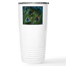 Green Peacock Feather Travel Mug