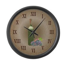 Wine painting Large Wall Clock