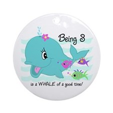 Whale 3rd Birthday Ornament (Round)