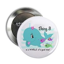 "Whale 3rd Birthday 2.25"" Button"