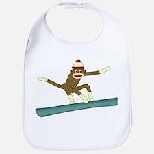 Sock Monkey Snowboarder Baby Bib