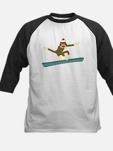 Sock Monkey Snowboarder Kids Baseball Jersey