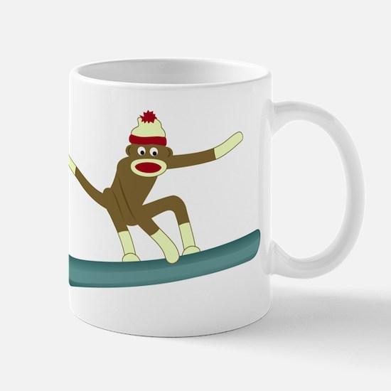 Sock Monkey Snowboarder Coffee Mug