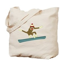 Sock Monkey Snowboarder Tote Bag
