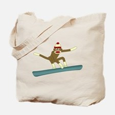 Sock Monkey Snowboarder Tote Bag