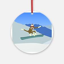 Sock Monkey Snowboarder Ornament (Round)