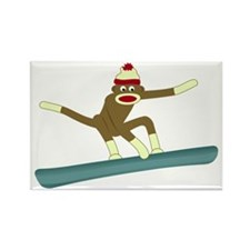 Sock Monkey Snowboarder Rectangle Magnet