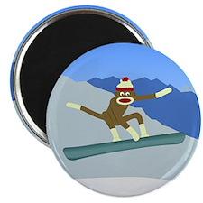 Sock Monkey Snowboarder Magnet