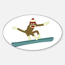 Sock Monkey Snowboarder Decal