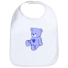 Blue Cute Heart Bear Bib