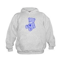 Blue Cute Heart Bear Hoodie
