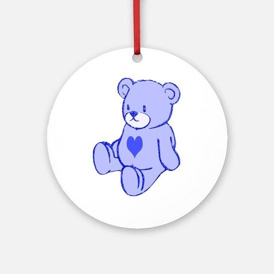 Blue Cute Heart Bear Ornament (Round)