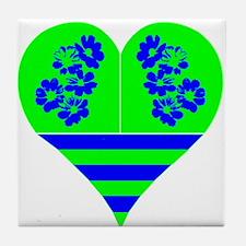 Heart Green Blue Tile Coaster