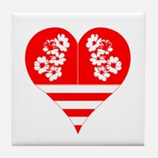 Hearts Red White Tile Coaster