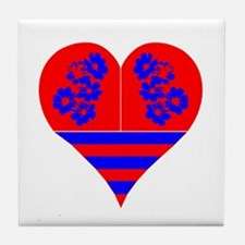 Heart red Blue Tile Coaster