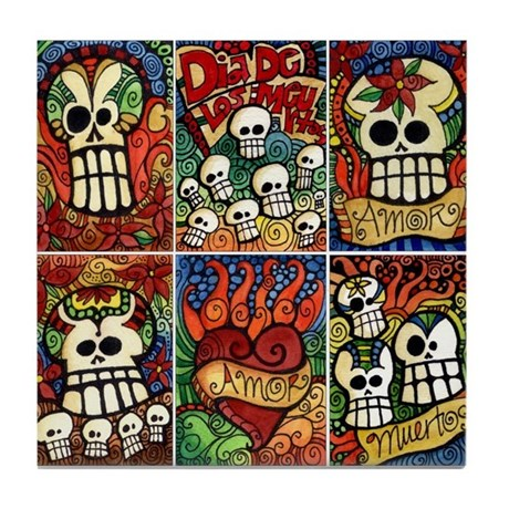 Day of the Dead Sugar Skulls Tile Coaster