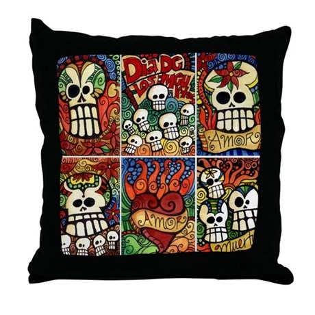 Day of the Dead Sugar Skulls Throw Pillow