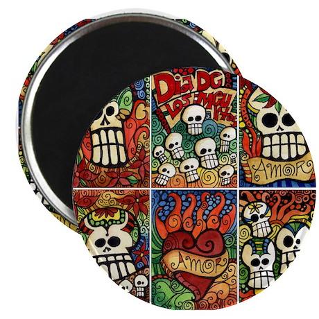 "Day of the Dead Sugar Skulls 2.25"" Magnet (10"