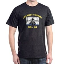 USS West Virginia BB 48 Black T-Shirt