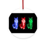 3 Pop art cats Ornament (Round)