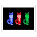 3 Pop art cats Small Poster