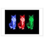 3 Pop art cats Large Poster