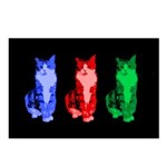 3 Pop art cats Postcards (Package of 8)