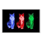 3 Pop art cats Sticker (Rectangle)