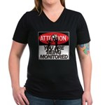 You Are Being Monitored Women's V-Neck Dark T-Shir