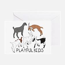 Playful Goat Kids Greeting Card