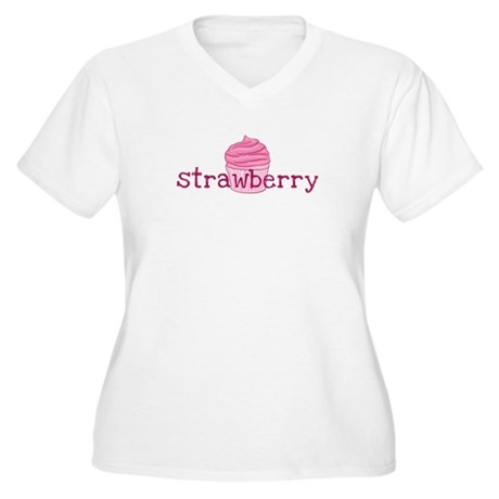 Strawberry Cupcak Women's Plus Size V-Neck T-Shirt
