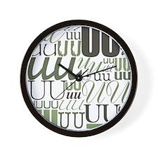 UU Typography (Sage) Wall Clock