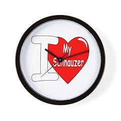 I Love My Schnauzer Wall Clock