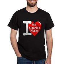 I Love My Siberian Husky (Front) Black T-Shirt