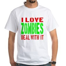 I Love Zombies Deal With It Shirt