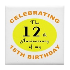 30th Birthday Anniversary Tile Coaster