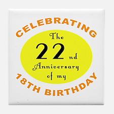 40th Birthday Anniversary Tile Coaster