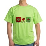 Peace, love, meat Green T-Shirt