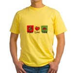 Peace, love, meat Yellow T-Shirt