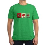 Peace, love, meat Men's Fitted T-Shirt (dark)