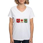 Peace, love, meat Women's V-Neck T-Shirt