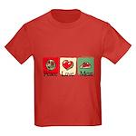 Peace, love, meat Kids Dark T-Shirt