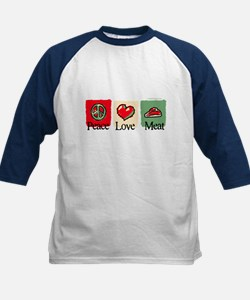 Peace, love, meat Kids Baseball Jersey