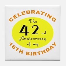 60th Birthday Anniversary Tile Coaster